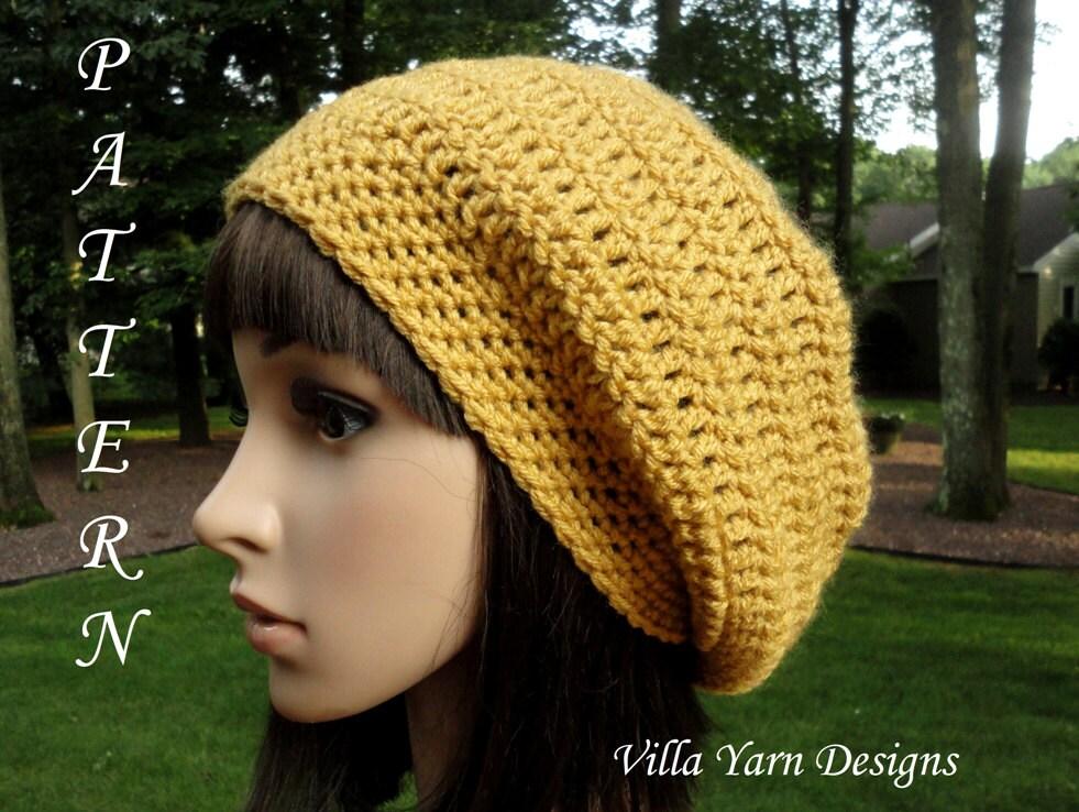 Crochet Hat Pattern Teenager : Crochet Hat Pattern Slouchy Hat Teen Women by VillaYarnDesigns