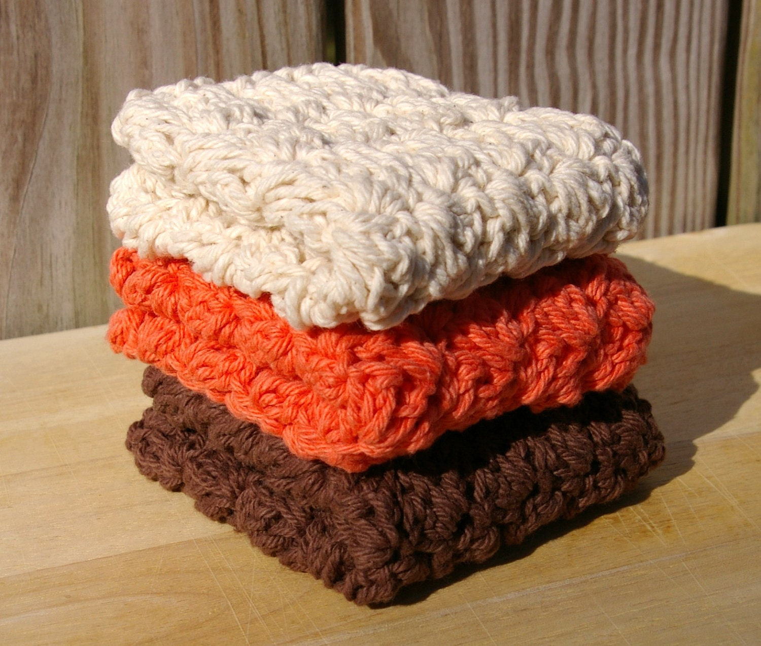 Cotton Dish Cloths in Autumn Fall Brown, Ecru, Tangerine