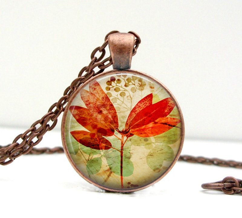 Vintage Inspired Leaf Necklace Red Orange Leaf Glass Art Pendant Picture Pendant Photo Pendant - Lizabettas