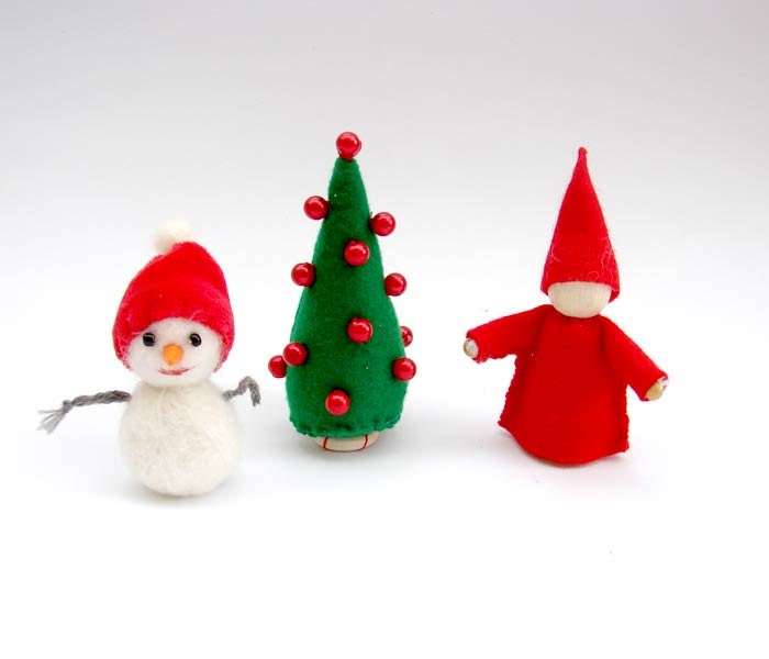 Christmas ornament red elf,  Snowman  or  Christmas Tree you choose one