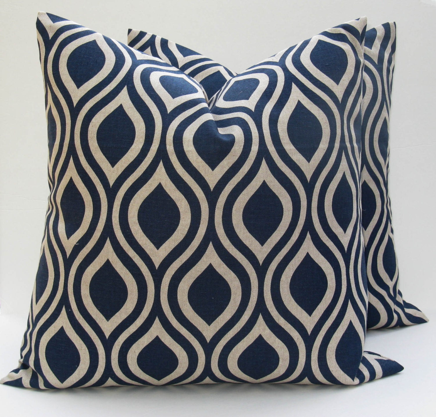 Throw Pillow Set of Two Covers.Blue Pillow .Blue Tan Pillow 20 x 20 covers printed fabric on front and back 20x20 Throw Pillow Covers - EastAndNest