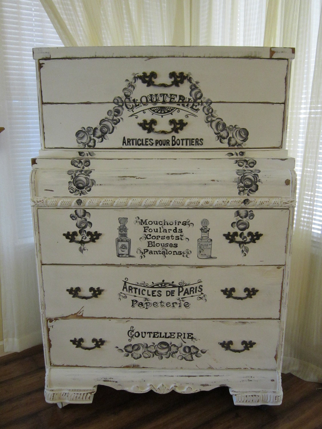 Antique Shabby Chic Handpainted Dresser By