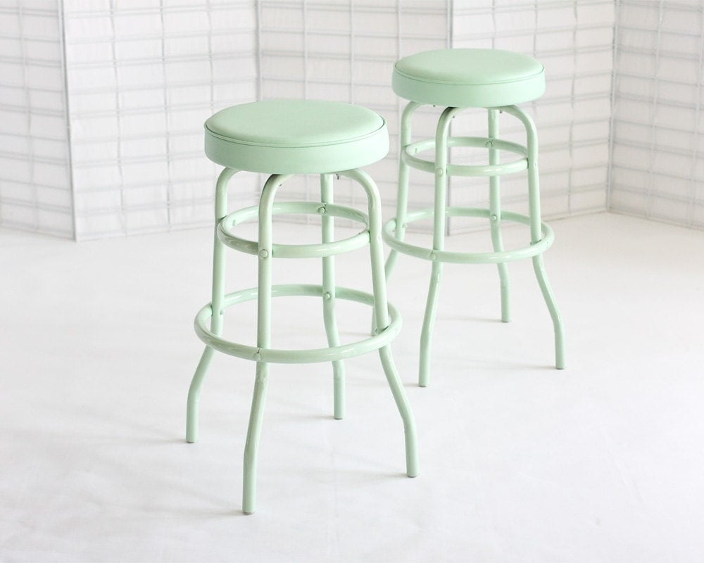Vintage Diner Stools, Mint, Set of Two - DailyGeneral