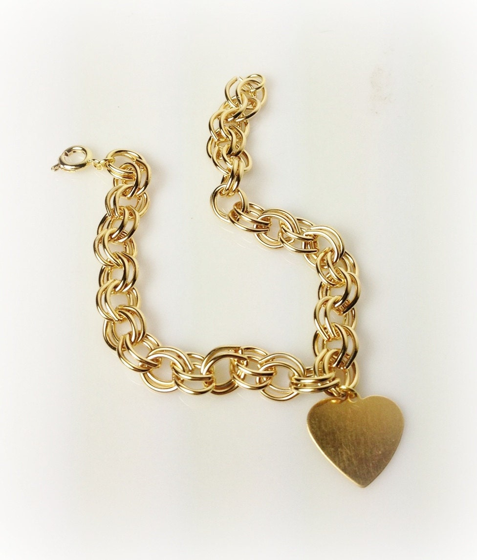 Kate Middleton Gold Heart Charm Link Bracelet