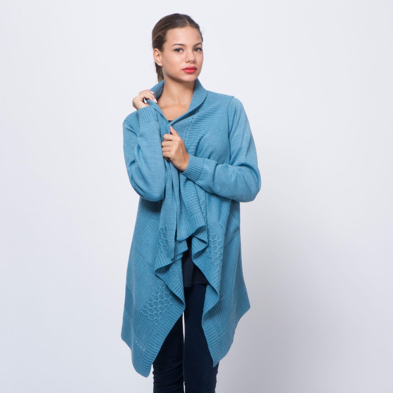 Cardigan sweater deep blue long sleeves heavy steel blue jacket belted