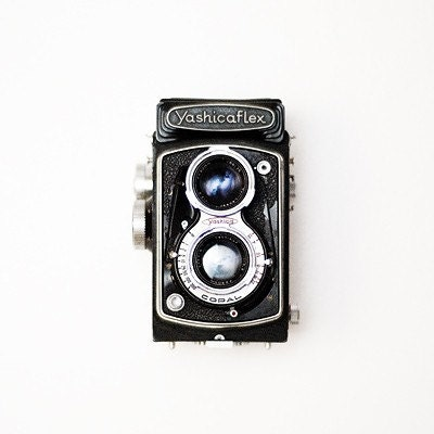 gift under 50 Vintage camera photograph 8x8 retro wall art camera photo yashica fine art camera photography black white blue