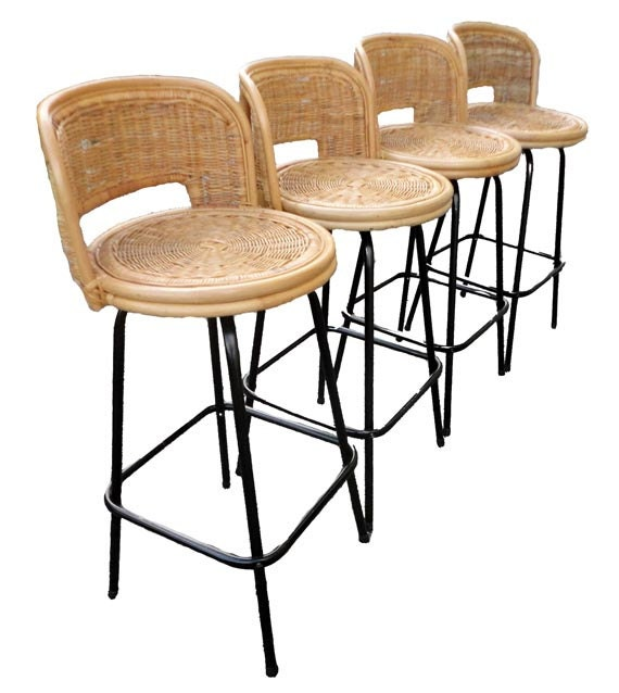 vintage mid century bar stools eames rattan by agogovintage. Black Bedroom Furniture Sets. Home Design Ideas