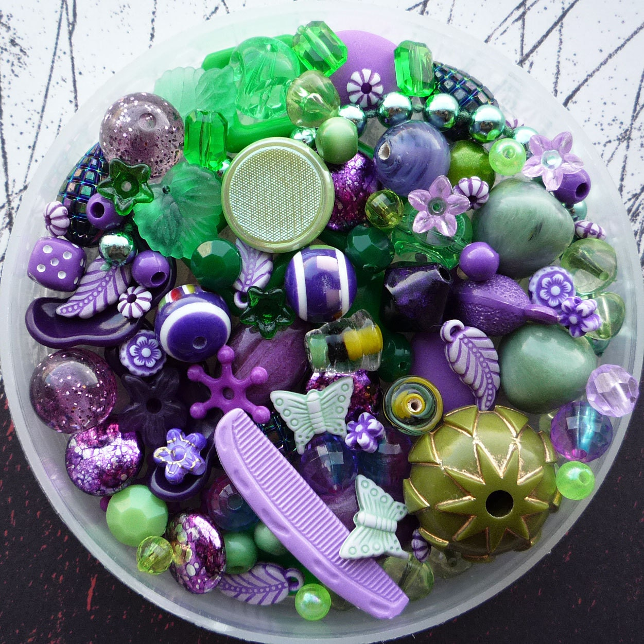 green and purple bead mix 100 pieces by nosnowsupplies on etsy. Black Bedroom Furniture Sets. Home Design Ideas