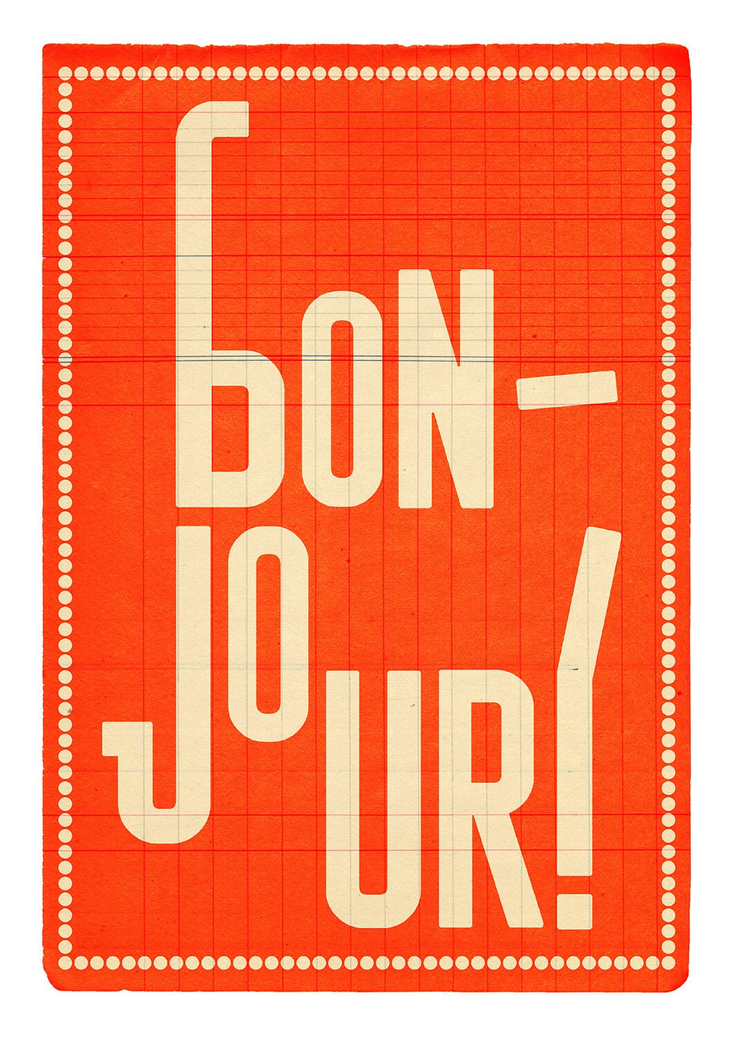 Bonjour (orange) . Illustration print 8.27 x 11.70 (A4). Greeting in French.