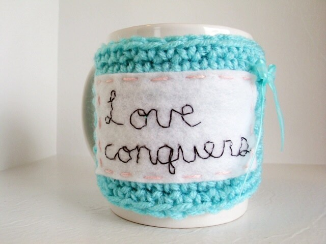 Coffee Sleeve - Love Conquers Crochet Coffee Cup Cozy in Robins Egg Blue, White and Baby Pink
