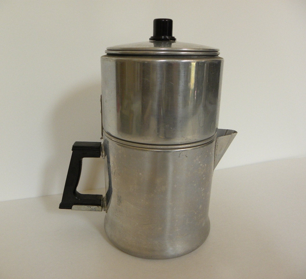 Vintage Drip Coffee Maker 6 Cup Aluminum Drip O by RedRubyRetro