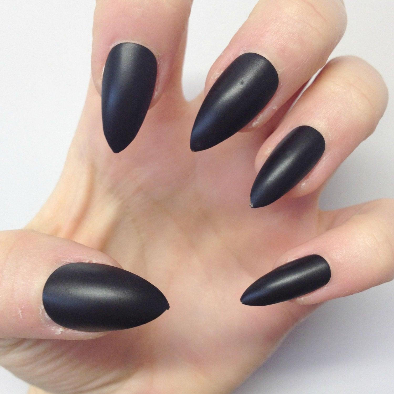 Matte Black Pointy Nails