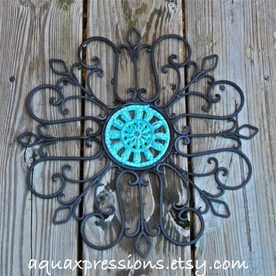 Distressed Metal Wall Decor : Metal wall decor aqua distressed patio by