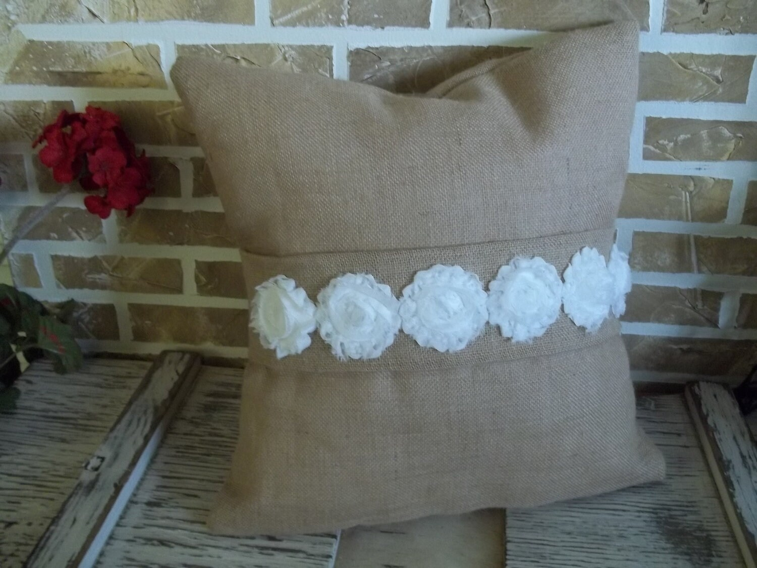Shabby Chic Burlap Pillows : Burlap Pillow with Shabby Chic White Flowers by SimplyFrenchMarket