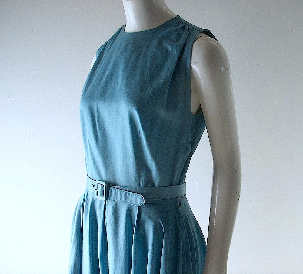 Mad Men era 50s dress - teal polished cotton - full swing skirt - size 2 or 4 - Betty Draper sleeveless day dress
