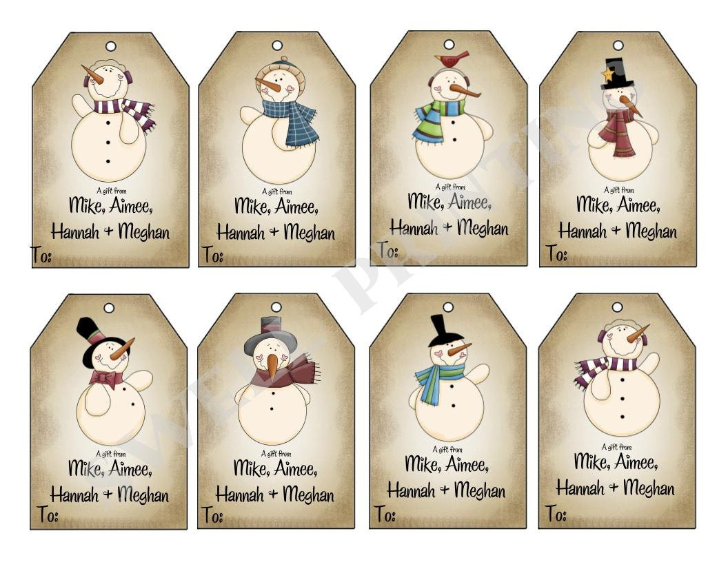 Mr. Snowman gift tags, Holiday gift tag, Personalized gift tags ...