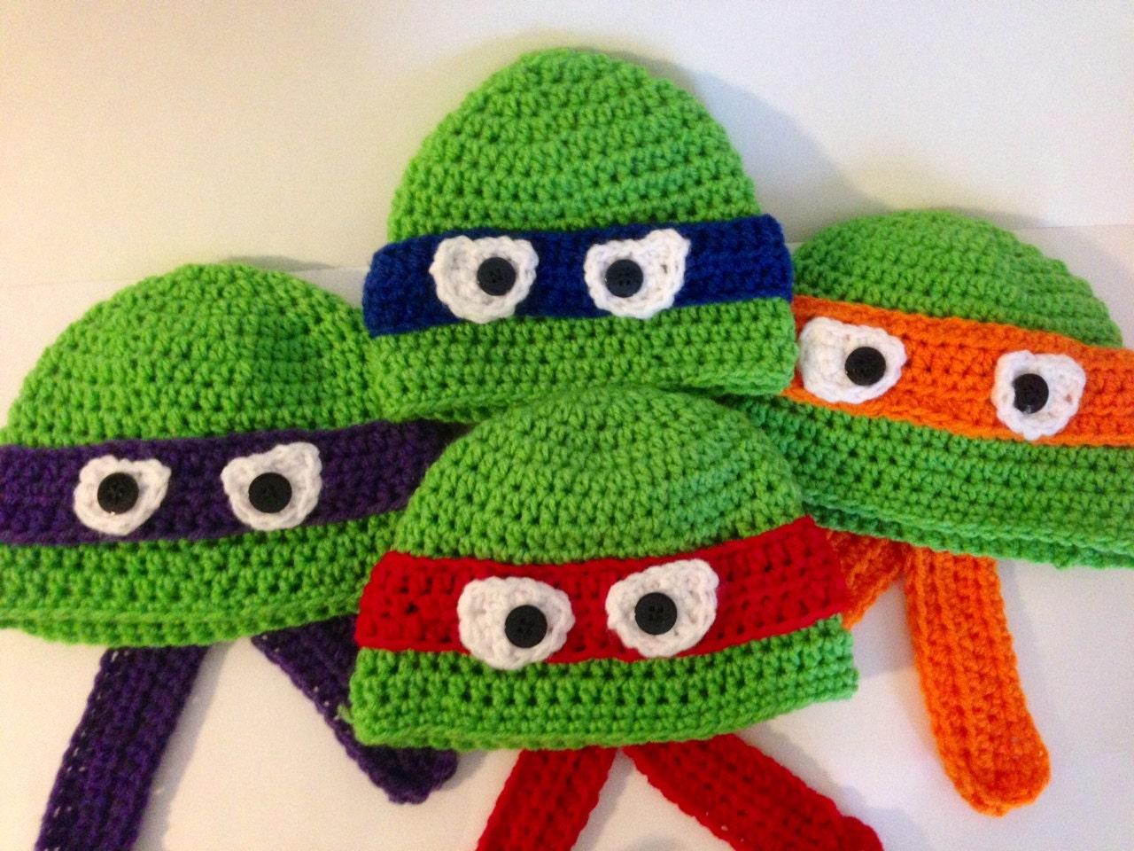 Crochet Pattern Tmnt Hat : Ninja Turtle Crochet Hat Pattern by grammabeans on Etsy