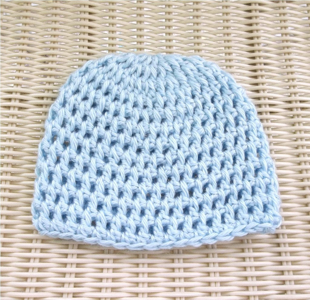 Baby Beanie Hat Crocheted Newborn to 3 months