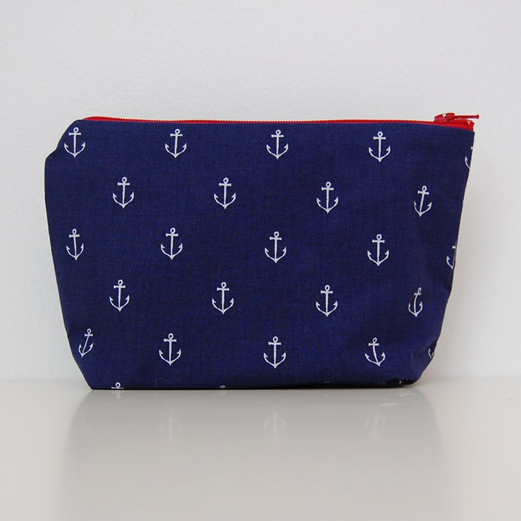 Navy Anchor - Small Makeup Bag - NicoleBlessDesign