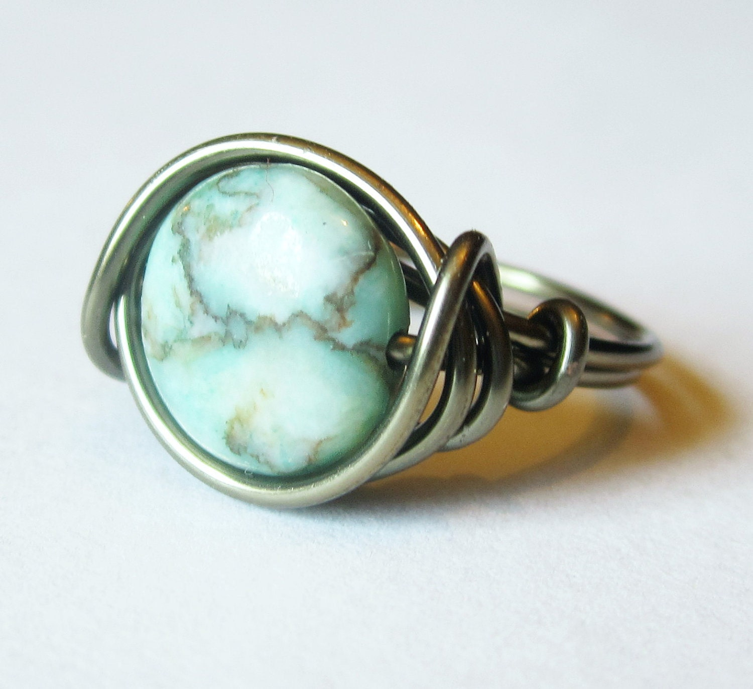 boho ring turquoise jewelry wire wrapped by distortedearth