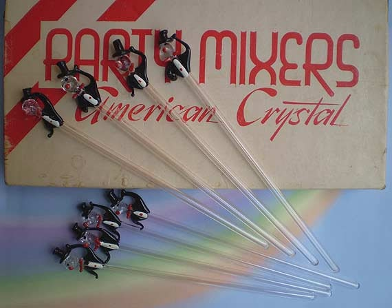 Vintage 50s Crystal Swizzle Sticks Party Mixers in Box - TheSpectrum
