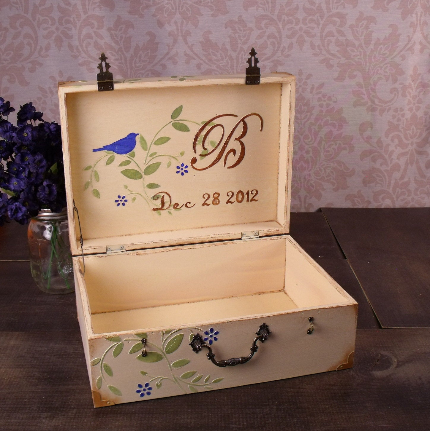 wedding love letter box royal blue birds by truevinetreasures With wedding love letter box