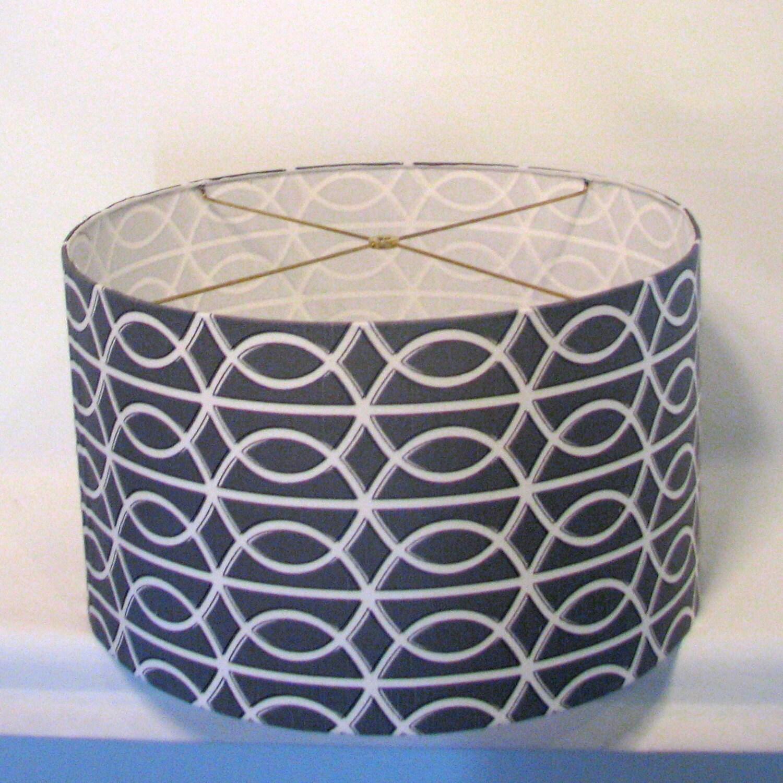 Drum Lamp Shade Grey Geometric 20x10 Silver By