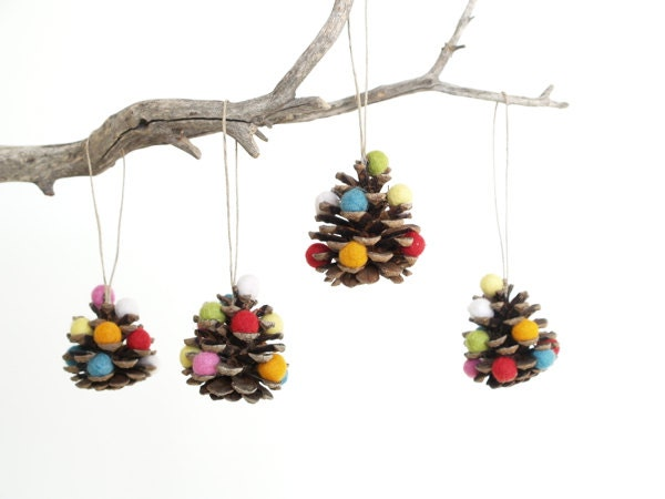Eco Friendly Christmas Ornaments, Pine Cone Xmas Tree Decorations, Rainbow, Colorful, Fun, Woodland, Whimsical, Eco-Friendly Eco Friendly, 4 - Fairyfolk