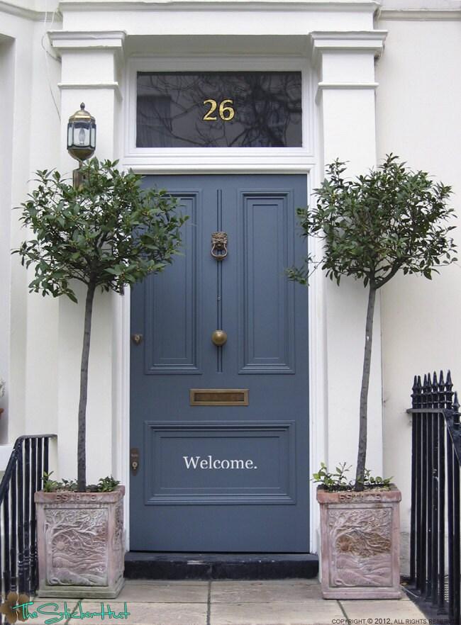 Welcome Front Door Entryway Vinyl Wall Art by thestickerhut