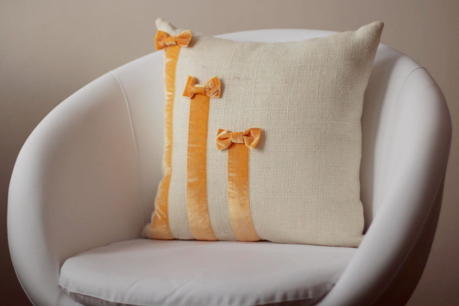Cream burlap pillow cover decorated with light mustard-yellow mellow velvet ribbon - originalboutique