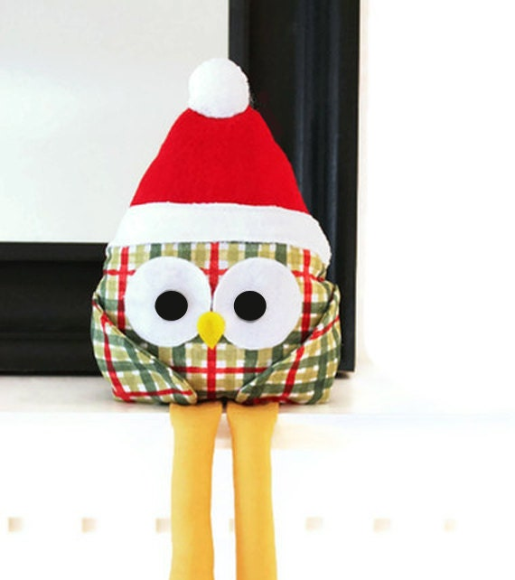 Christmas Owl Sewing Pattern - Holiday Home Decor PDF Pattern Santa Owl for Bookshelf, Mantel - Easy Owl Pattern - GandGPatterns