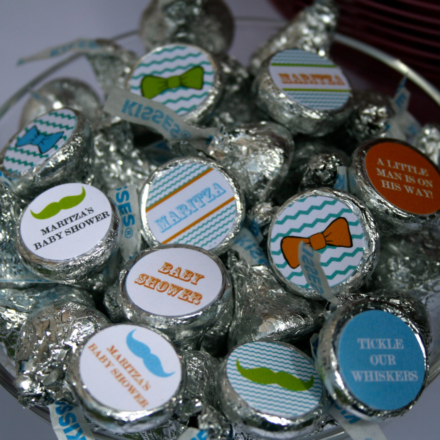 chevron baby shower mustache and bow ties hershey kiss labels print