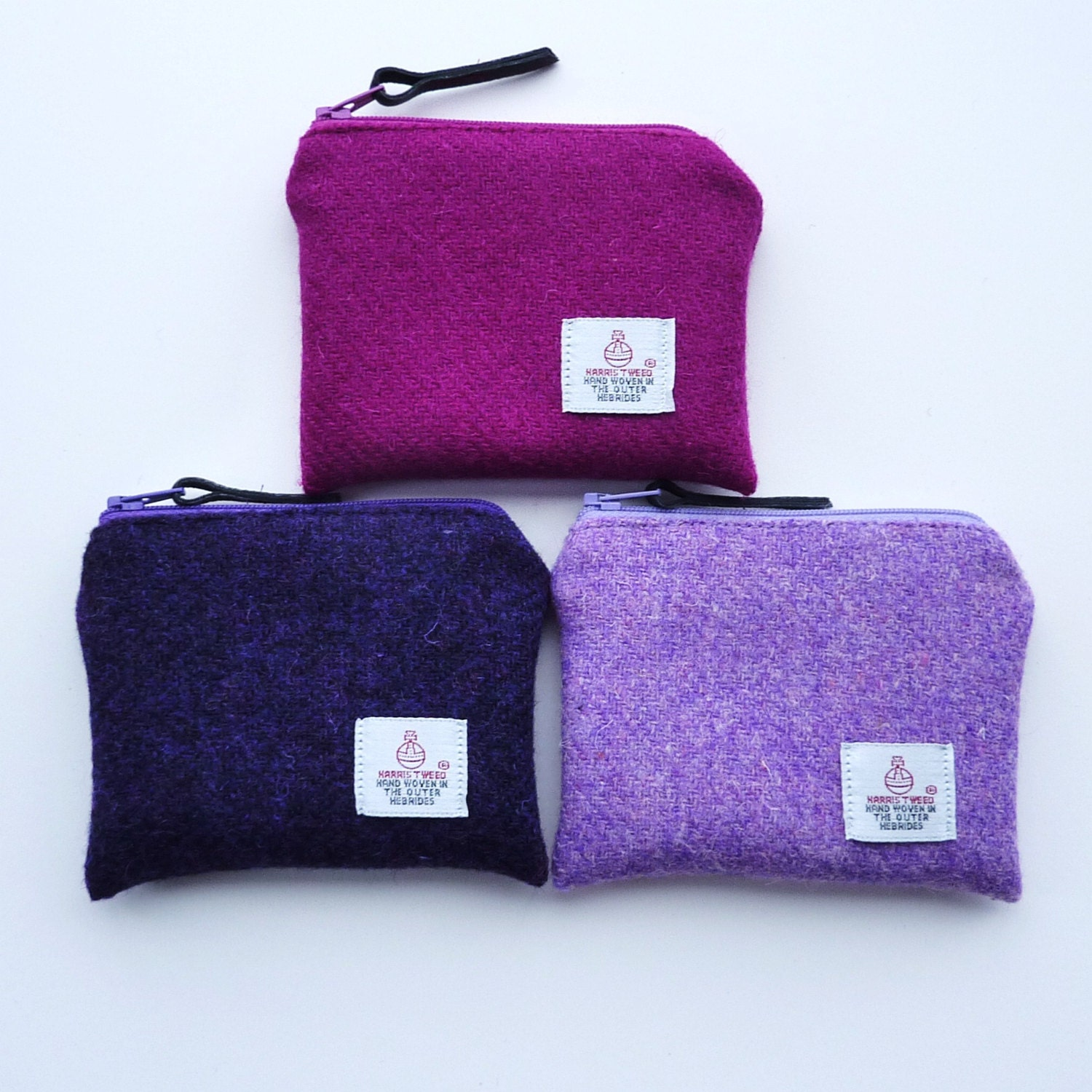 HARRIS TWEED coin purse or wristlet pink  lilac  purple  owl lining