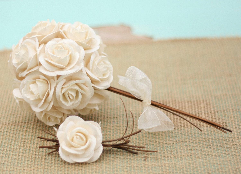 Природные Vintage Вдохновленный бумаги кремово-белый слоновая кость Розы Свадебные Pin Бутоньерка