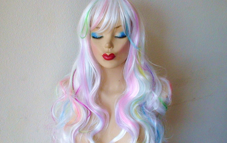 Unicorn Rainbow Pastel Rainbow Hair Cosplay Wig White By