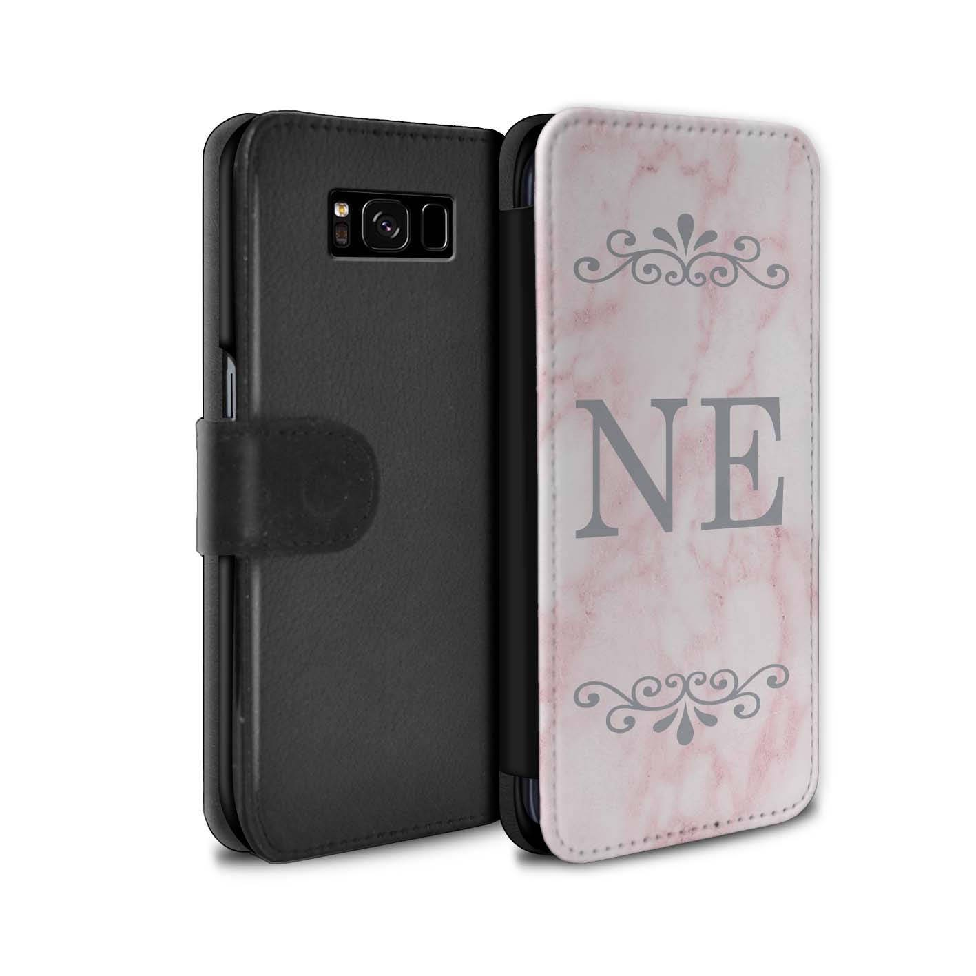 Pink Marble Silver Font initial Frame Personalized Custom Wallet Flip Phone Case Samsung Galaxy S5 S6 Edge S7 Edge S8 S8 Plus