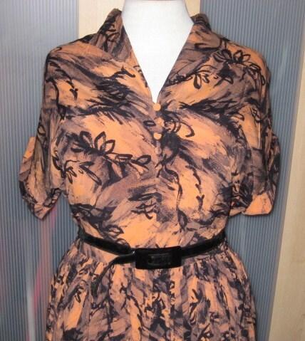 Beautiful 40s burnt orange wild abstract print dress