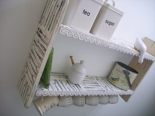 Large 45cm H x 74cm W Pine White Shabby Chic Vintage Cutlery Kitchen Shelves with Lace  Cup Hooks