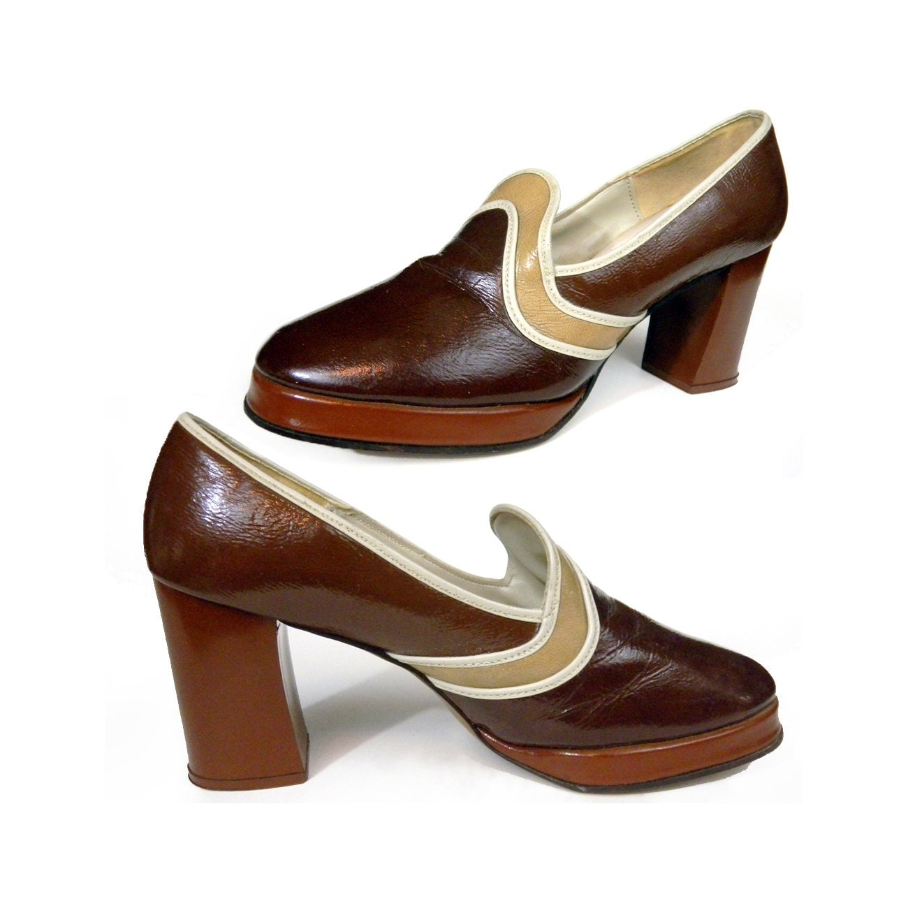 vintage 70s platform disco shoes brown leather by