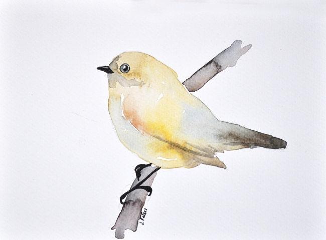 ORIGINAL Watercolor bird painting - Yellow bird, pastel colors 6x8 inch - ArtCornerShop