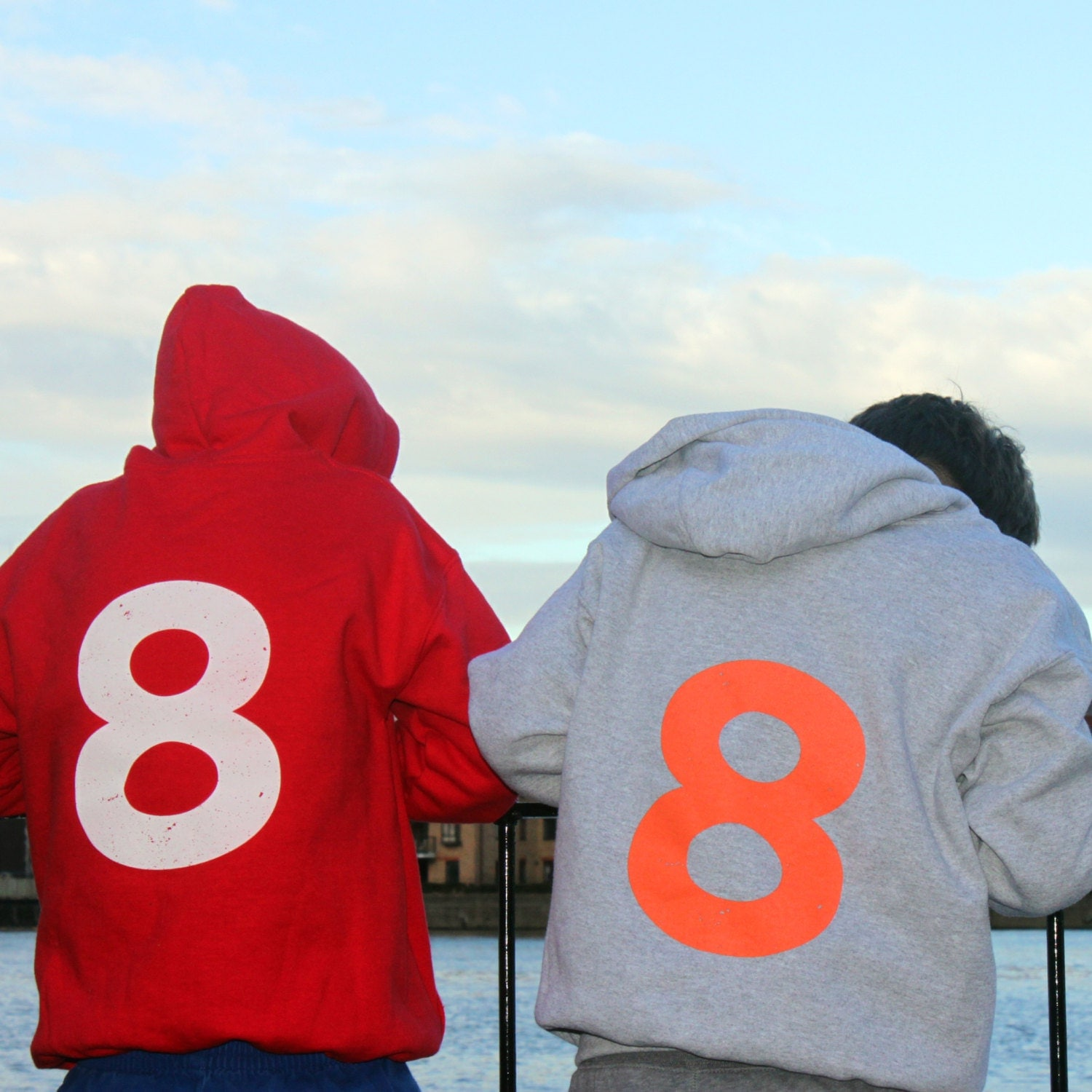 Catapult Hoodie 8 Pull On Hooded Top Gray and Orange Catapult logo on the front number 8 eight on the back retro design for cool kids