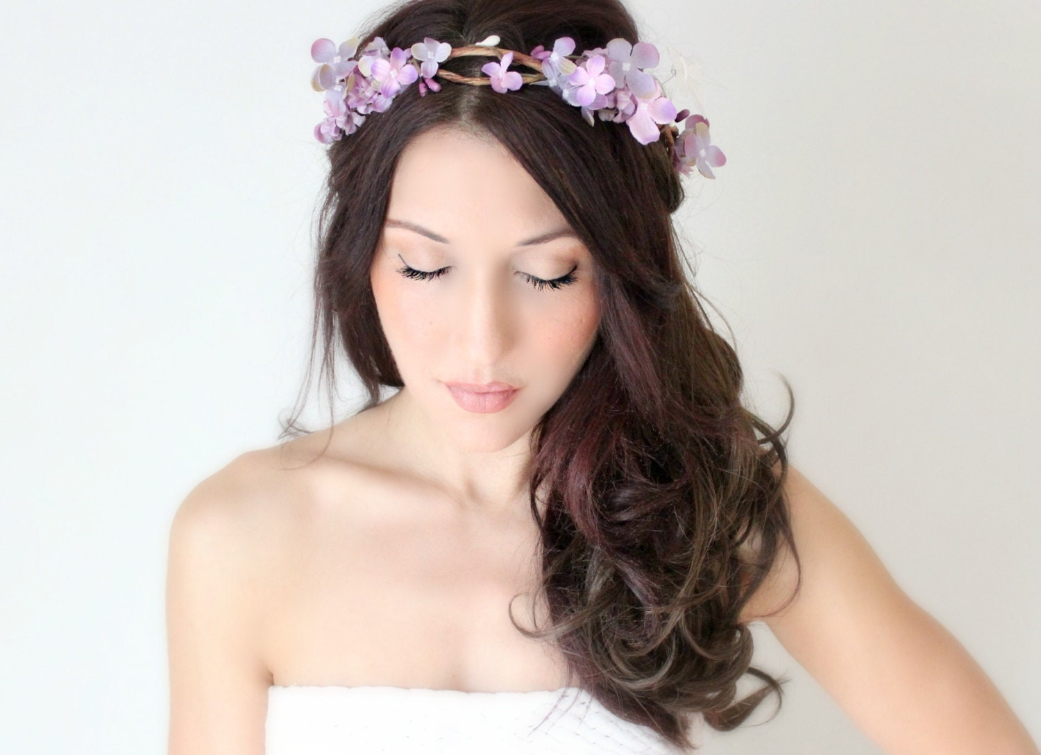 Real Flower Bridal Hair Accessories : Items similar to purple flower crown wedding headpiece