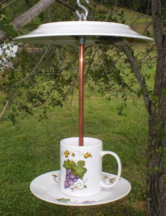 Upcycled tea cup bird feeder by thehoarseduck on etsy for Upcycled bird feeder