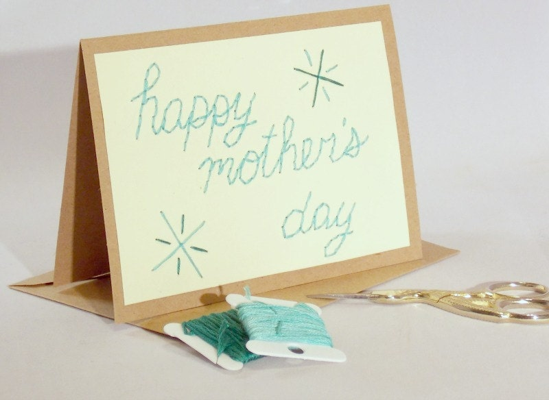 Mother's Day stitched card hand embroidered Happy Mother's Day Stars turquoise teal - sleepingfoxstitchery