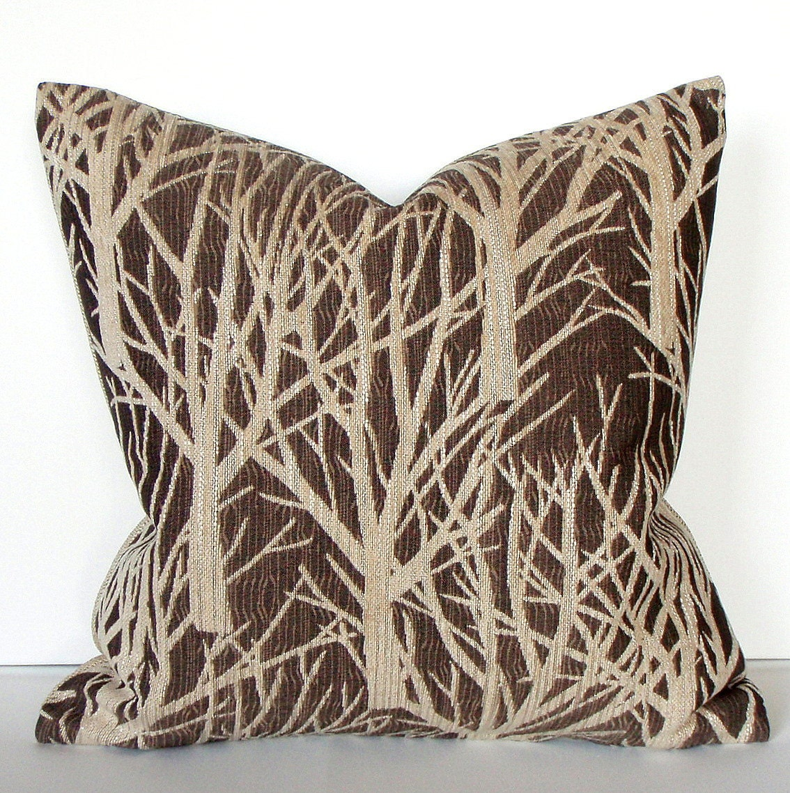 Tree  Branches Brown Ivory and Beige 20x20 Decorative Throw Pillow Cover - couchdwellers
