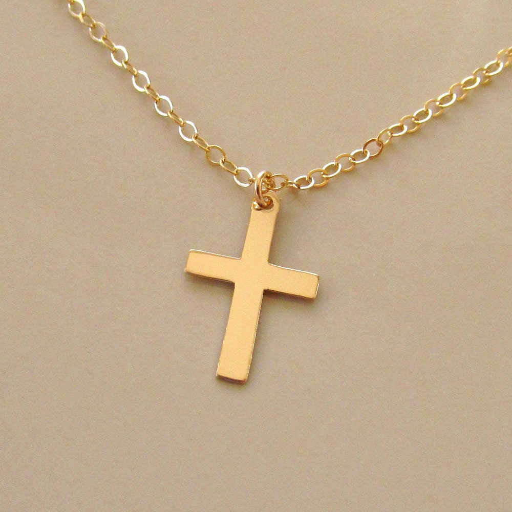 classic cross necklace gold cross charm on by pamelacurran