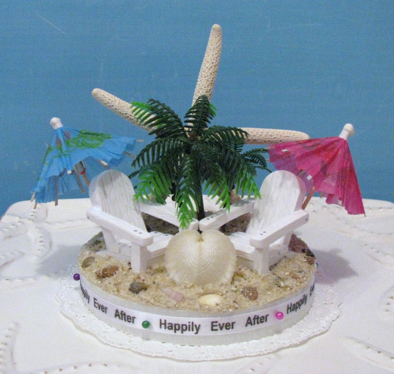 Adirondack Chair Beach Wedding Cake by CeShoreTreasures on