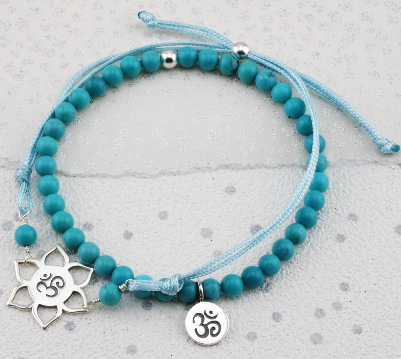 Silver Throat Chakra bracelets turquoise stone bracelet December birthstone healing bracelet yoga bead bracelet yoga cord bracelet