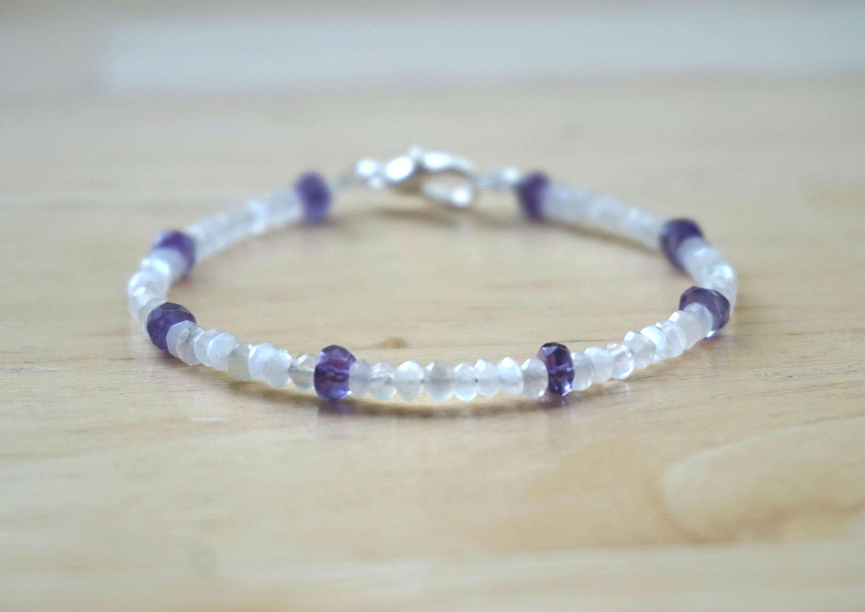 Amethyst and Moonstone Bracelet Gemstone Bracelet Delicate Bracelet Thin Bracelet Mixed Gemstone Bracelet Silver Gemstone Bracelet