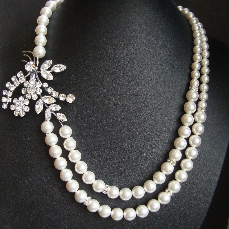 Vintage Rhinestone Brooch Necklace, Swarovski Crystal Pearl Bridal Necklace (one of a kind)